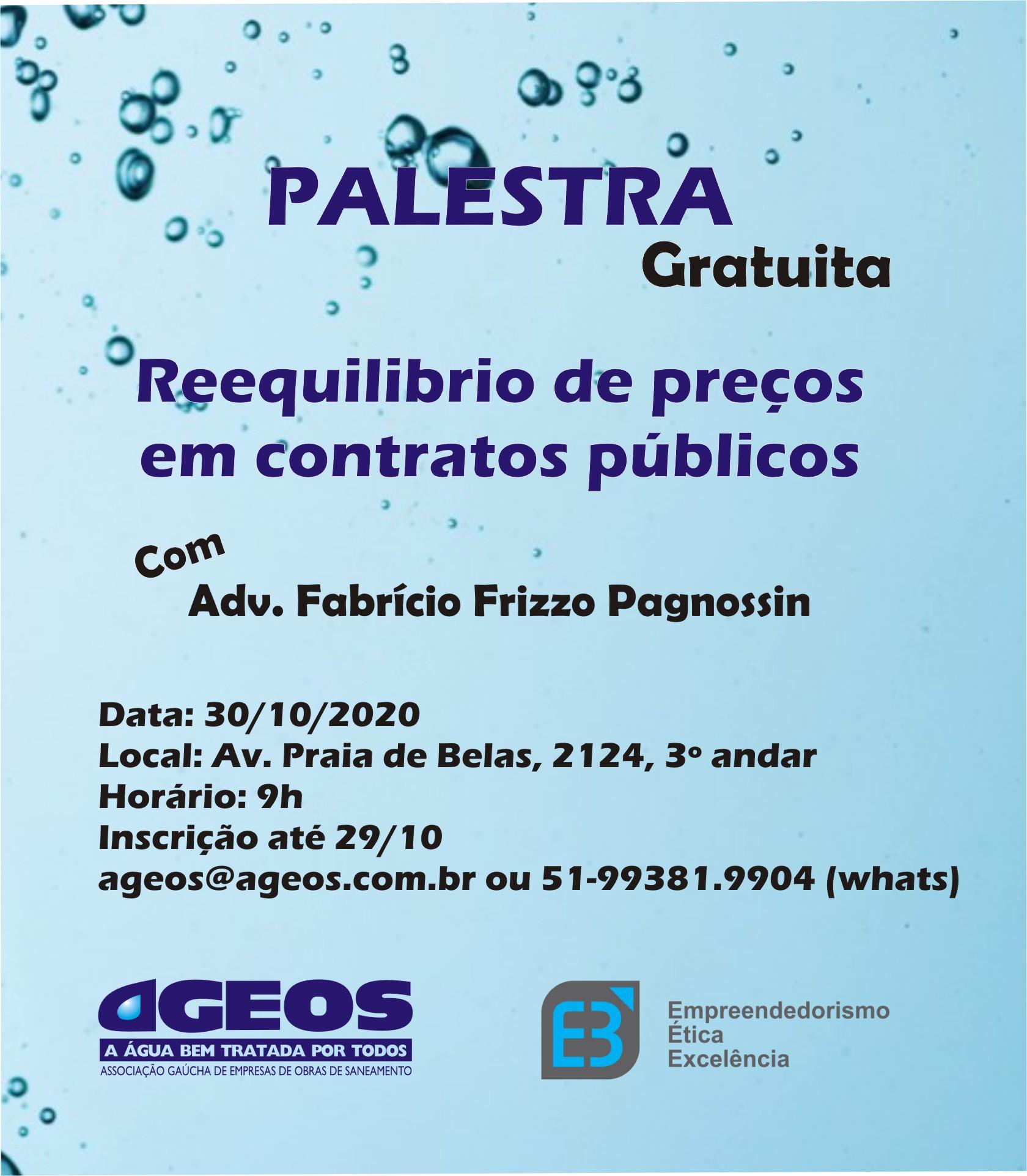 Palestra AGEOS: Reequilíbrio de preços em contratos públicos